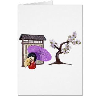Sakura Doll with Wall and Cherry Tree Card