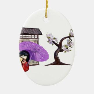 Sakura Doll with Wall and Cherry Tree Ceramic Ornament