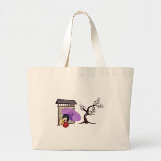 Sakura Doll with Wall and Cherry Tree Large Tote Bag