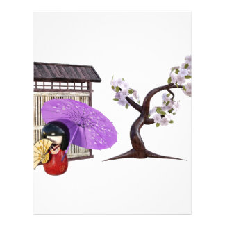 Sakura Doll with Wall and Cherry Tree Letterhead