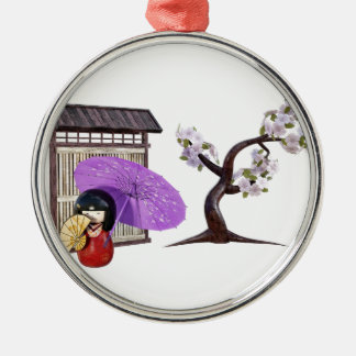 Sakura Doll with Wall and Cherry Tree Metal Ornament