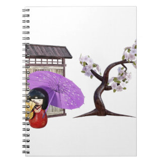 Sakura Doll with Wall and Cherry Tree Notebooks