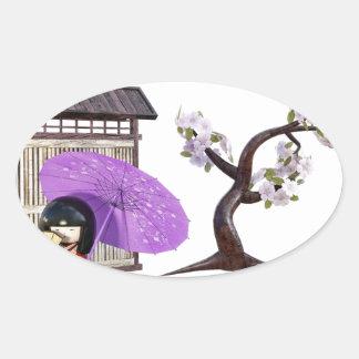 Sakura Doll with Wall and Cherry Tree Oval Sticker