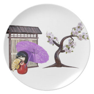 Sakura Doll with Wall and Cherry Tree Plate