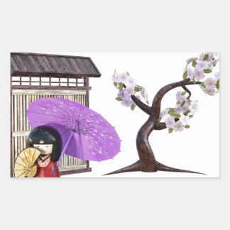 Sakura Doll with Wall and Cherry Tree Sticker