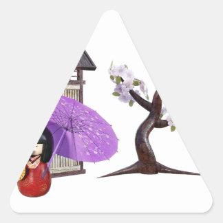 Sakura Doll with Wall and Cherry Tree Triangle Sticker