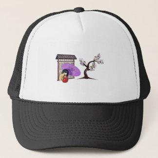 Sakura Doll with Wall and Cherry Tree Trucker Hat