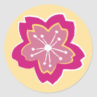 Sakura Floral Batik Blossom Round Sticker