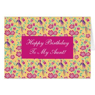 Sakura Floral Batik Happy Birthday Aunt Card