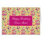 Sakura Floral Batik Happy Birthday Mom Card