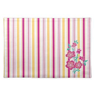 Sakura Floral Batik Stripes Placemat
