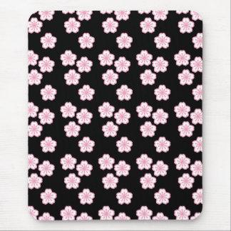 Sakura Floral Black and Pink Mousepad