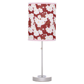 Sakura Flowers On Red Table Lamp