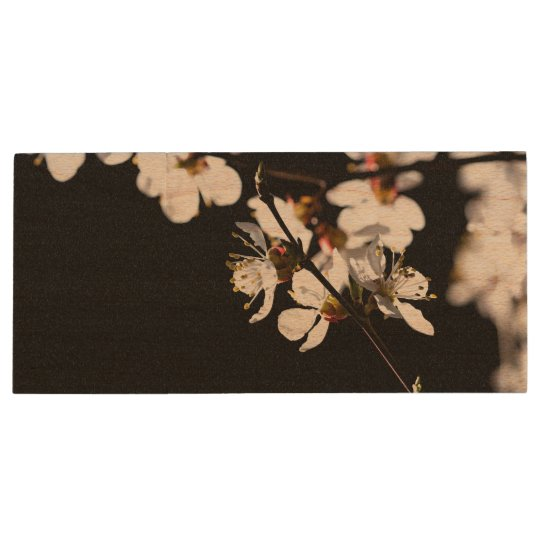 Sakura flowers wood USB 3.0 flash drive