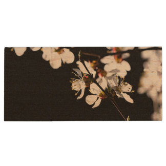 Sakura flowers wood USB flash drive