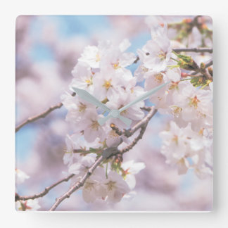 sakura flowes pilow square wall clock