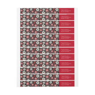 Sakura Japanese Design Wraparound Return Address Wrap Around Label
