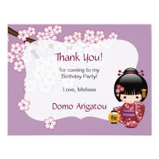 Sakura Kokeshi Doll Birthday Party Thank You Card