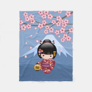 Sakura Kokeshi Doll - Cute Japanese Geisha Girl Fleece Blanket