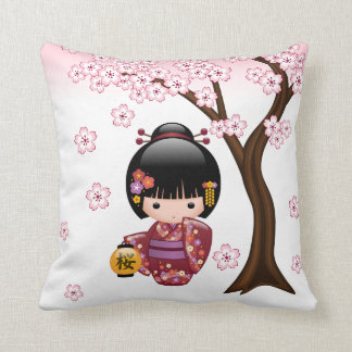 Sakura Kokeshi Doll - Cute Japanese Geisha Girl Throw Pillow