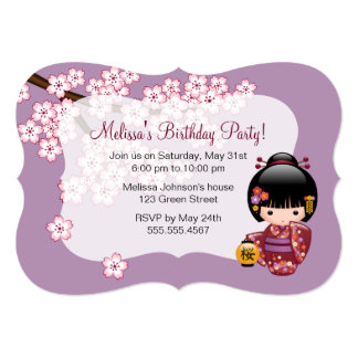 Sakura Kokeshi Doll Geisha Birthday Party Photo Card
