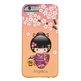 Sakura Kokeshi Doll - Geisha Girl on Peach Barely There iPhone 6 Case