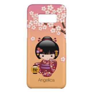 Sakura Kokeshi Doll - Geisha Girl on Peach Case-Mate Samsung Galaxy S8 Case