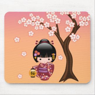 Sakura Kokeshi Doll - Geisha Girl on Peach Mouse Pad