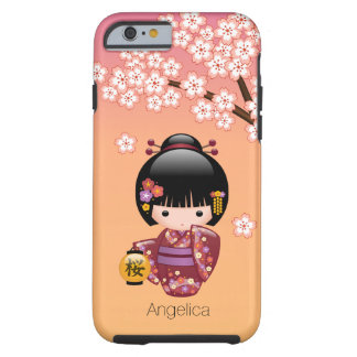 Sakura Kokeshi Doll - Geisha Girl on Peach Tough iPhone 6 Case