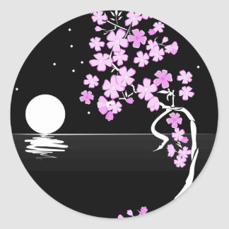 Sakura of the Night Classic Round Sticker