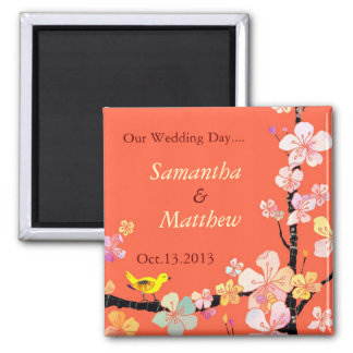 Sakura Save the Date Wedding Invitation Magnet