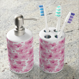 Sakura Soap Dispenser And Toothbrush Holder