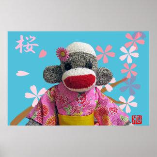 Sakura Sock Monkey Poster