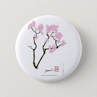 sakura with green bird, tony fernandes 2 inch round button