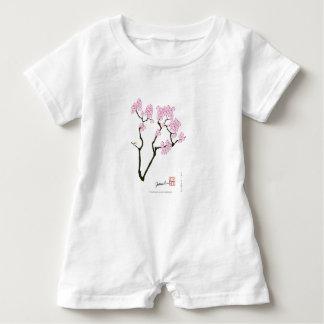 sakura with green bird, tony fernandes baby romper