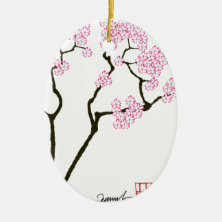 sakura with green bird, tony fernandes ceramic ornament