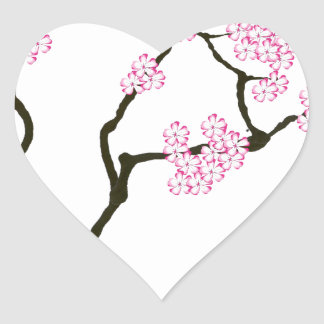 sakura with green bird, tony fernandes heart sticker