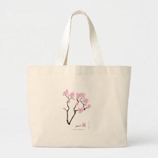 sakura with green bird, tony fernandes large tote bag