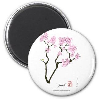 sakura with green bird, tony fernandes magnet