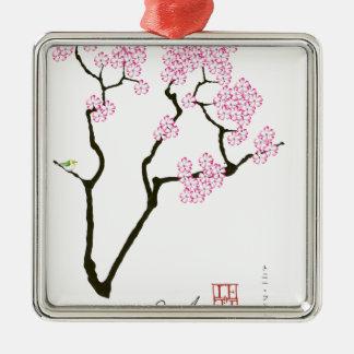 sakura with green bird, tony fernandes metal ornament