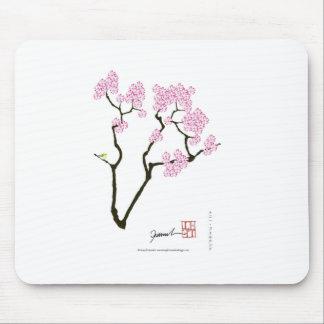 sakura with green bird, tony fernandes mouse pad