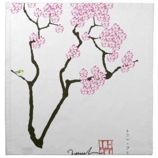sakura with green bird, tony fernandes napkin