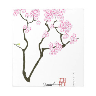 sakura with green bird, tony fernandes notepad