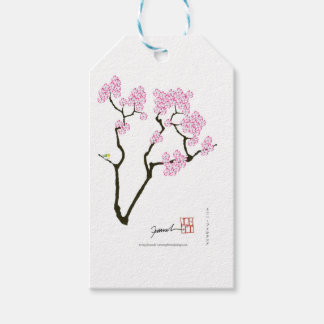 sakura with green bird, tony fernandes pack of gift tags