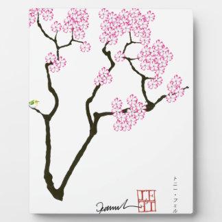 sakura with green bird, tony fernandes plaque