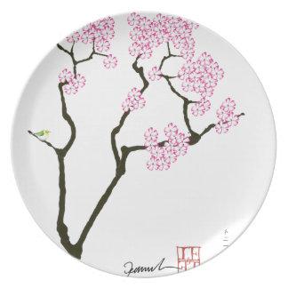sakura with green bird, tony fernandes plates