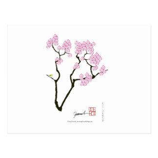 sakura with green bird, tony fernandes postcard