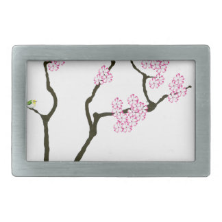 sakura with green bird, tony fernandes rectangular belt buckle