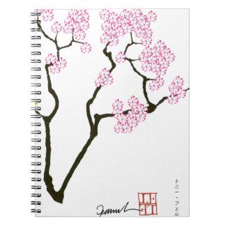 sakura with green bird, tony fernandes spiral notebook