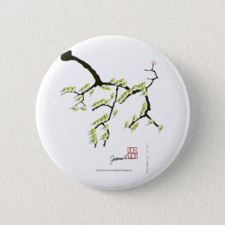 sakura with green birds, tony fernandes 2 inch round button